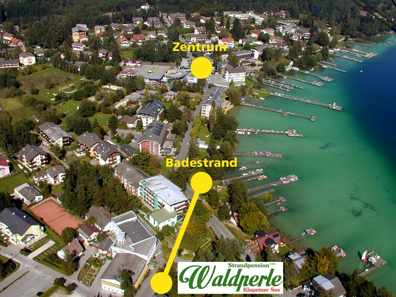 Strandpension Waldperle - Luftaufnahme auf Seelach am Klopeiner See - © Oswin Weiss